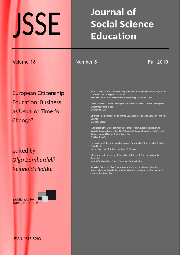 View Vol. 18 No. 3 (2019): European Citizenship Education: Business as Usual or Time for Change?